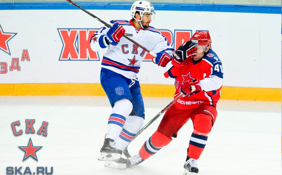 Петербургский СКА не смог победить ЦСКА врамках стабильного чемпионата КХЛ